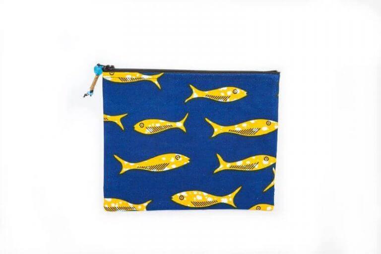 Grande pochette poissons (bleue)