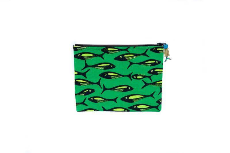 Grande pochette poissons (verte)